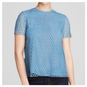 Tory Burch Crescent Guipure Lace Eyelet Blouse